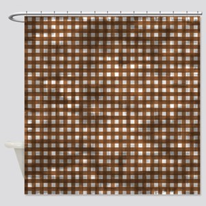 Vintage Brown Gingham Pattern Shower Curtain
