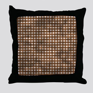 Vintage Brown Gingham Pattern Throw Pillow
