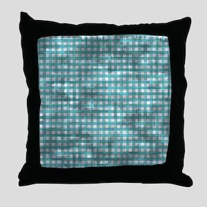 Vintage Blue Gingham Pattern Throw Pillow