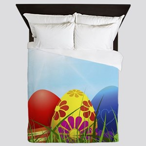 easter eggs Queen Duvet