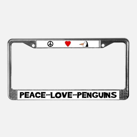 Peace Love Penguins License Plate Frame