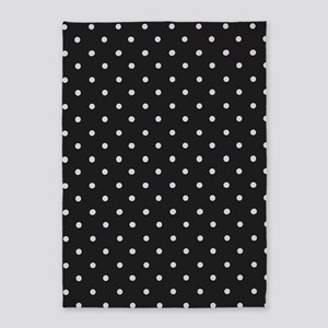 Black and White Polka Dot 5'x7'Area Rug