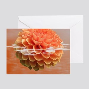Surreal Coral Colour Dahlia Greeting Card
