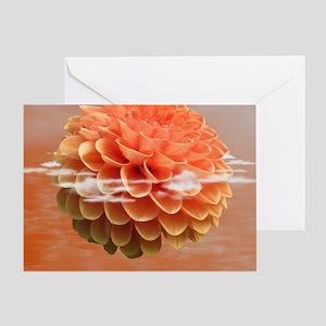 Surreal Coral Colour Dahlia Greeting Card