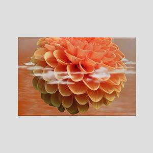 Surreal Coral Colour Dahlia Rectangle Magnet