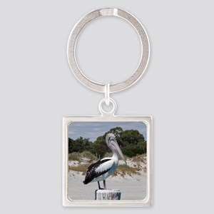 Pelican Standing on Watch Square Keychain