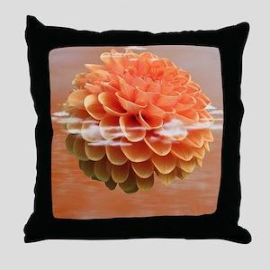 Surreal Coral Colour Dahlia Throw Pillow