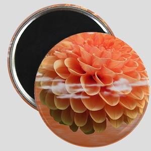 Surreal Coral Colour Dahlia Magnet