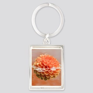 Surreal Coral Colour Dahlia Keychains