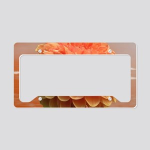 Surreal Coral Colour Dahlia License Plate Holder