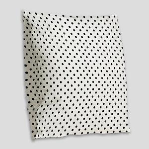 White and Black Polka Burlap Throw Pillow