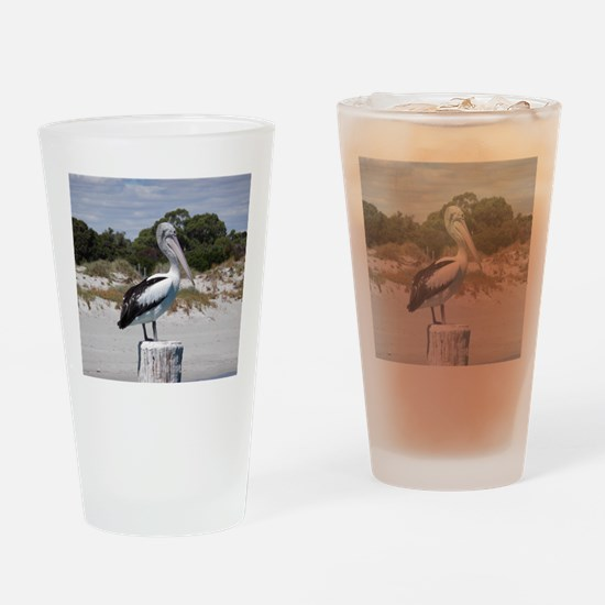 Pelican Standing on Watch Drinking Glass