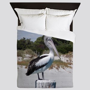 Pelican Standing on Watch Queen Duvet