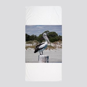 Pelican Standing on Watch Beach Towel