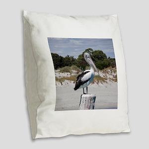 Pelican Standing on Watch Burlap Throw Pillow