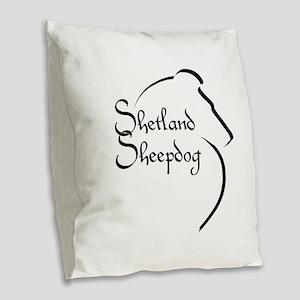 Sheltie Style Burlap Throw Pillow