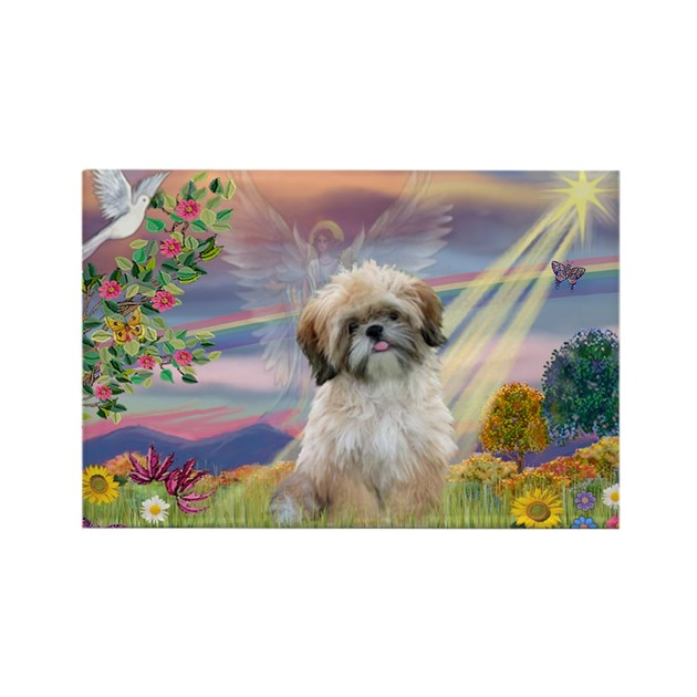 angelbaby shih tzu cloud angel shih tzu rectangle magnet by dogloverdesigns 9556