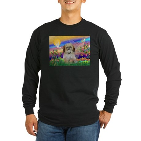 Guardian Angel & Shih Tzu Long Sleeve Dark T-Shir