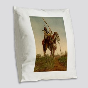 native americans Burlap Throw Pillow