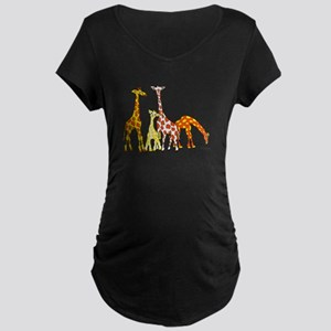 Giraffe Family Portrait in Oranges and Yellows Mat