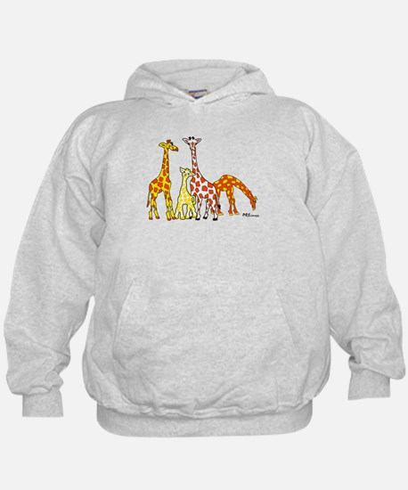 Giraffe Family Portrait in Oranges and Yellows Hoo
