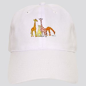 Giraffe Family Portrait in Oranges and Yellows Bas
