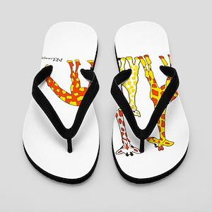 Giraffe Family Portrait In Oranges And Flip Flops