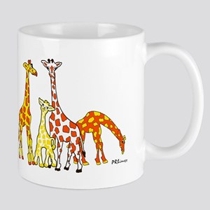 Giraffe Family Portrait in Oranges and Yellows Mug