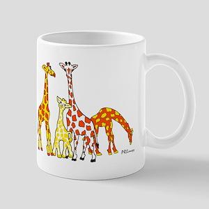 Giraffe Family Portrait in Oranges and Yellows Mug