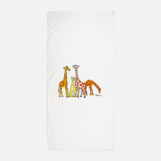 Giraffe Family Portrait in Oranges and Yellows Bea