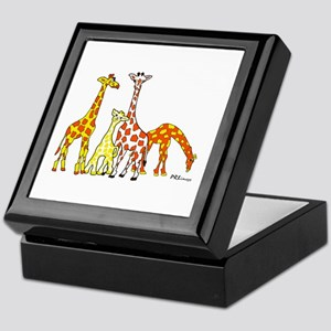 Giraffe Family Portrait In Oranges Keepsake Box