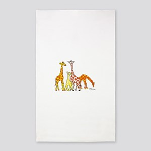 Giraffe Family Portrait in Oranges and Yellows Are