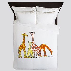Giraffe Family Portrait in Oranges and Yellows Que