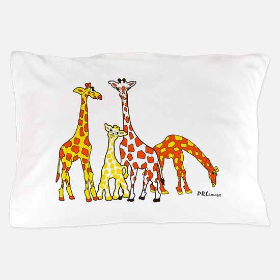 Giraffe Family Portrait in Oranges and Yellows Pil