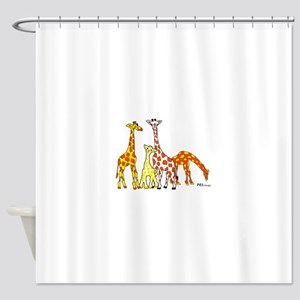 Giraffe Family Portrait in Oranges and Yellows Sho