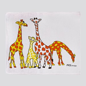 Giraffe Family Portrait in Oranges and Yellows Thr