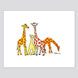 Giraffe Family Portrait in Oranges and Yellows Pos