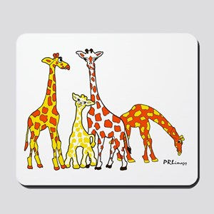 Giraffe Family Portrait in Oranges and Yellows Mou