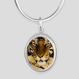 RoyalTiger Silver Oval Necklace