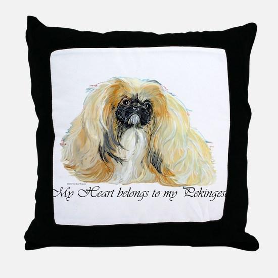 Pekingese Heart Throw Pillow