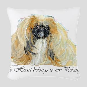 Pekingese Heart Woven Throw Pillow