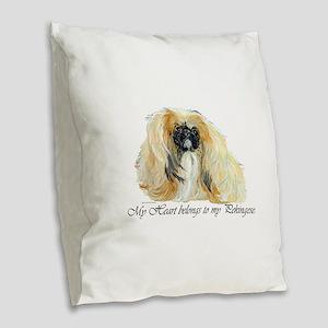 Pekingese Heart Burlap Throw Pillow