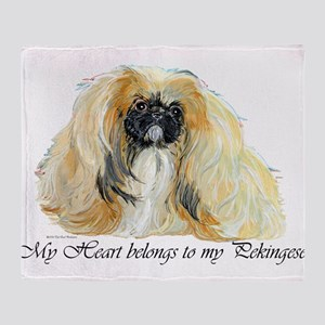 Pekingese Heart Throw Blanket