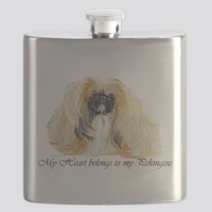 Pekingese Heart Flask