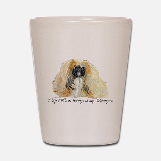 Pekingese Heart Shot Glass