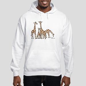 Giraffe Family Portrait in Browns and Beige Hoodie
