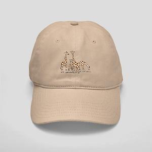 Giraffe Family Portrait In Browns And Beige Cap