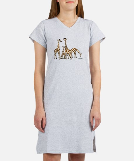 Giraffe Family Portrait in Browns and Beige Women'