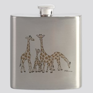 Giraffe Family Portrait in Browns and Beige Flask