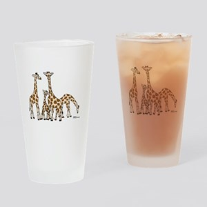 Giraffe Family Portrait in Browns and Beige Drinki